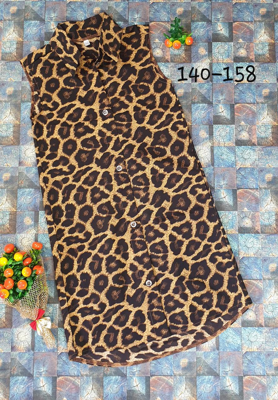 Летнее платье -рубашка на пуговицах с карманами ПРИНТ 140-158