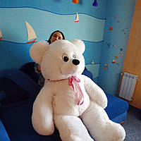 """Плюшевый Супергигант мишка""""Гена""""  200см белый с бантом. Большой медведь. Мягкая игрушка плюшевый мишка 2 метра"""