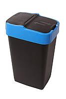 Ведро для мусора с крышкой черное 60л, Heidrun REFUSE Push&Up, 40*33*67см (HDR-1345)