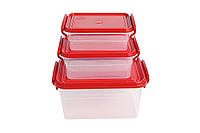 Набор контейнеров с ручками 3шт, 2л+0,95л+0,55л MrBox (арт.47149)