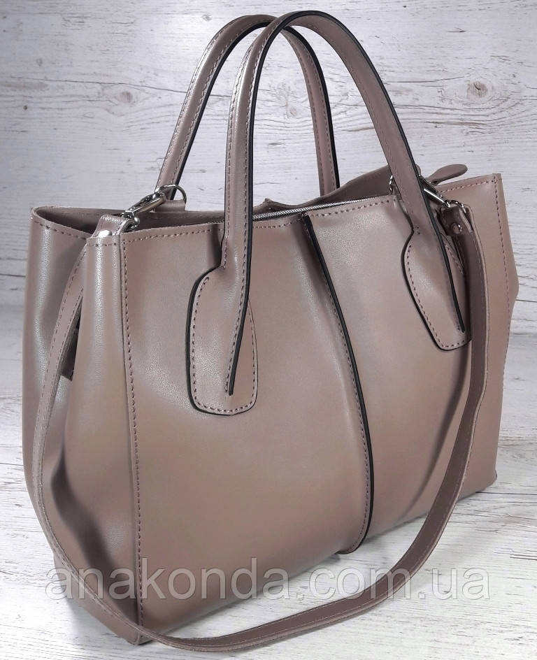59-2 Натуральная кожа. Сумка женская, темная бежевая, какао, кофейная Женская сумка кожаная бежевая