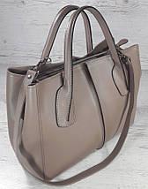 59-2 Натуральная кожа. Сумка женская, темная бежевая, какао, кофейная Женская сумка кожаная бежевая, фото 2