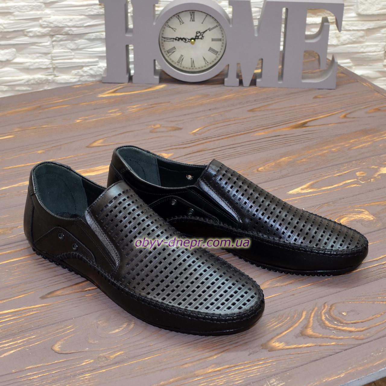 Туфли летние мужские кожаные черные.