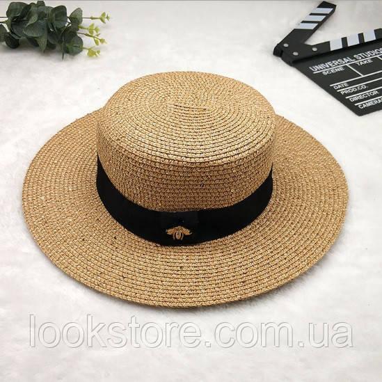 Женская летняя шляпа канотье с пчелой в стиле Гуччи c пайетками кофе с молоком