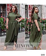 Легкое летнее длинное платье большого размера №8609-1-хаки 50 52 54 56