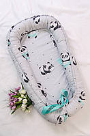 Позиционер для сна, кокон - гнездышко для новорожденных малышей. Серый пандочка.