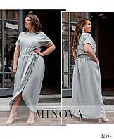 Легкое длинное летнее платье большого размера на запах №8609-1-светло-серый 50 52 54 56