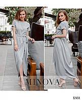 Длинное легкое летнее платье на запах №8609-светло-серый 42 44 46 48