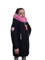 """Модное зимнее пальто для девочки """"Электра"""" черного цвета оптом и в розницу"""