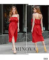 Красное летнее платье с открытыми плечами 2019 №8608 42 44 46 48