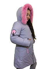 """Модное зимнее пальто для девочки """"Электра"""" серого цвета оптом и в розницу"""