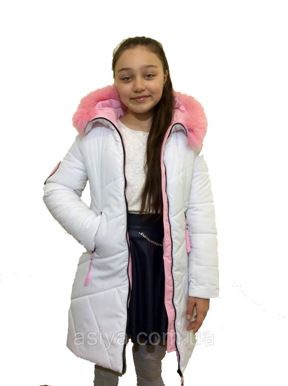 """Модное зимнее пальто для девочки """"Электра"""" белого цвета оптом и в розницу"""