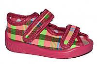 Детские летние сандалии для девочки (Розовые в клетку)