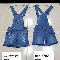 Комбинезоны шорты джинсовые для девочек 3-7 лет