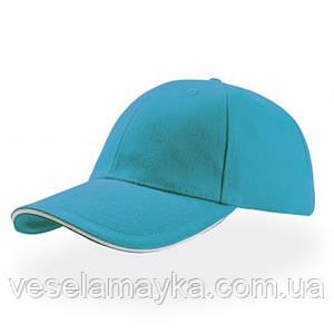 Голубая кепка-сэндвич с белой вставкой