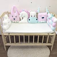"""Бортики """"зверята"""" на три стороны для детской кроватки"""
