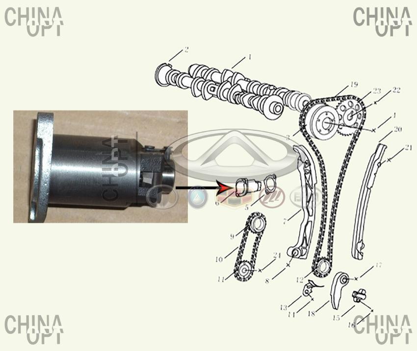 Гидронатяжитель цепи ГРМ, 4G20, 4G24, Geely EX7[2.0,X7], 1046005600, Original parts