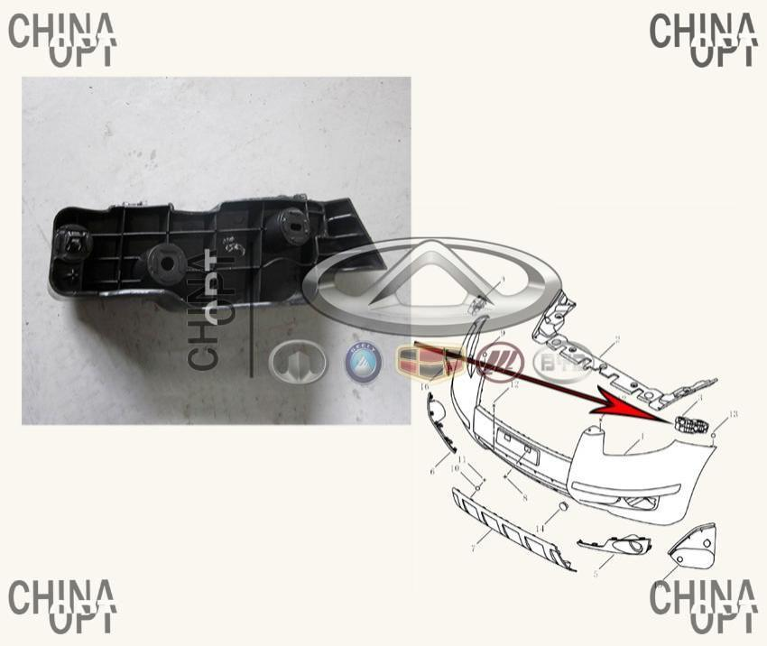 Направляющая переднего бампера, левая, пластик, Geely EX7[2.4,X7], 1018010265, Aftermarket