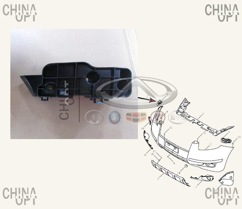 Направляющая переднего бампера, правая, пластик, Geely EX7[1.8,X7], 1018010266, Aftermarket
