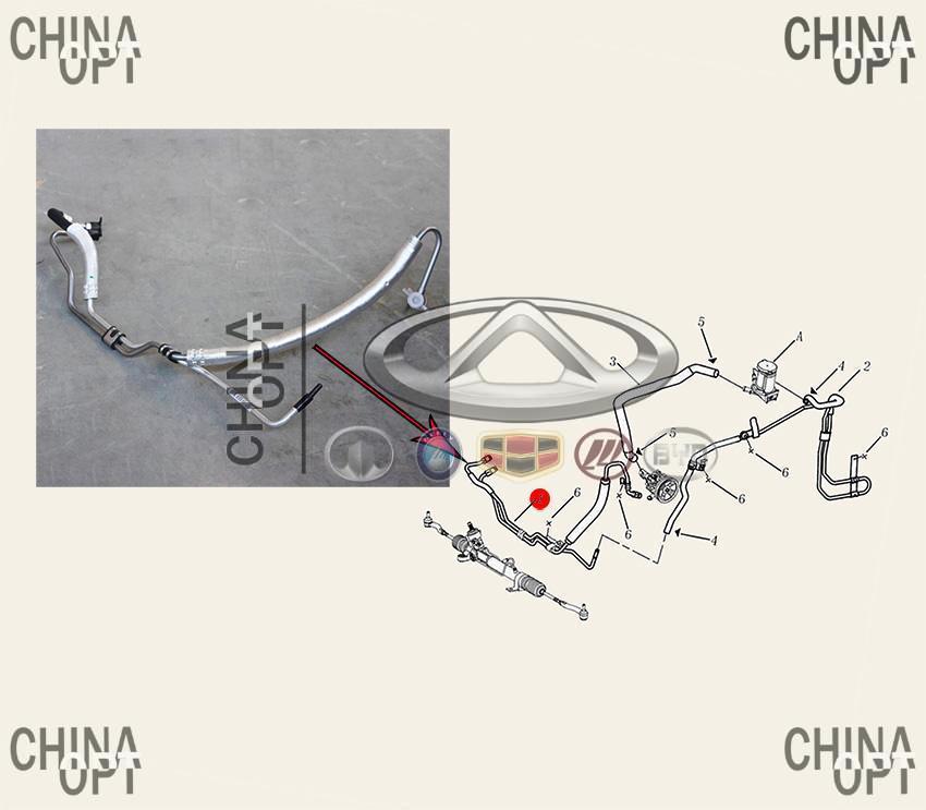 Шланг гидроусилителя, трубка высокого давления, Geely EC7RV[1.5,HB], 1064001170, Aftermarket