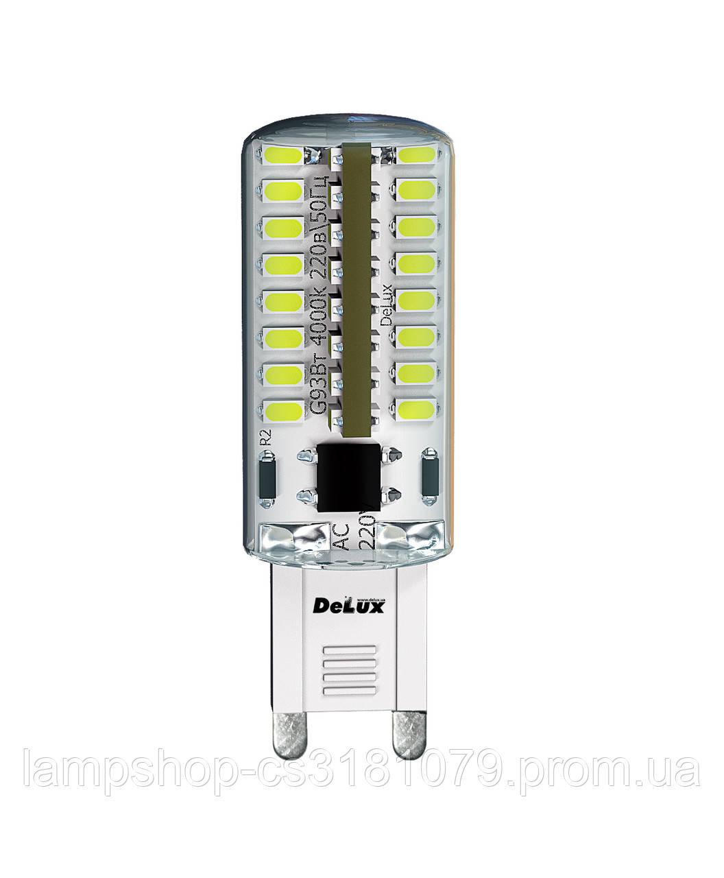 Лампа светодиодная DELUX G9E 3Вт 3000K 220В G9 теплый белый Код товара:90003756