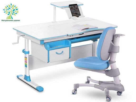 Комплект детская парта растишка стол трансформер + кресло растишка Evo-Kids Evo-40 BL (дерево) Blue, фото 2