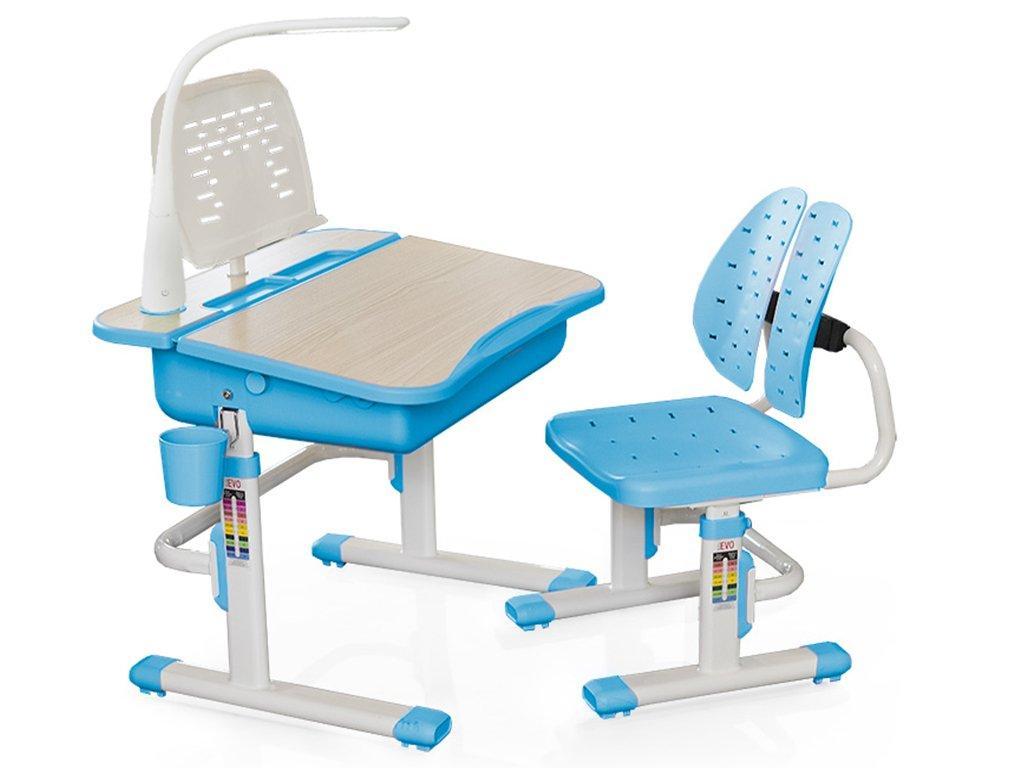 Комплект детская парта растишка стол трансформер + кресло растишка Evo-Kids Evo-03 Blue с лампой