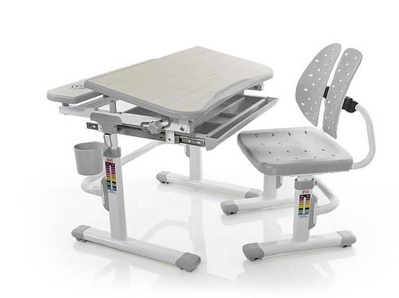 Комплект детская парта растишка стол трансформер + кресло растишка Evo-Kids Evo-05 Grey, фото 2