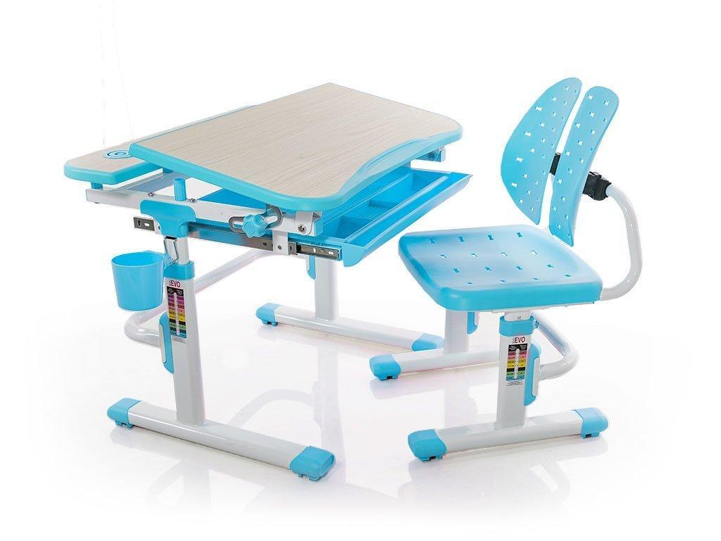Комплект детская парта растишка стол трансформер + кресло растишка Evo-Kids Evo-05 Blue