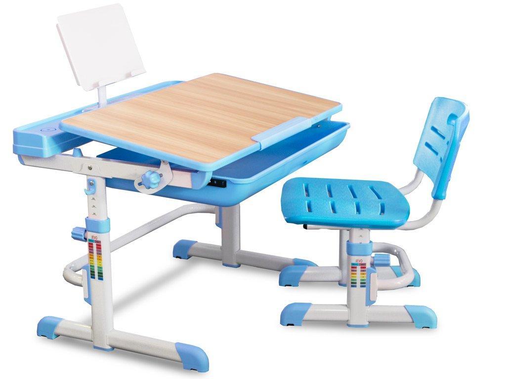 Комплект детская парта растишка стол трансформер + кресло растишка Evo-Kids Evo-04 B Blue клён