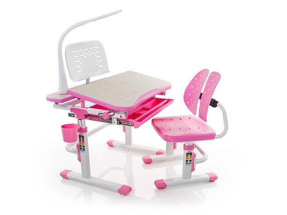 Комплект детская парта растишка стол трансформер + кресло растишка Evo-Kids Evo-05 Pink с лампой, фото 2