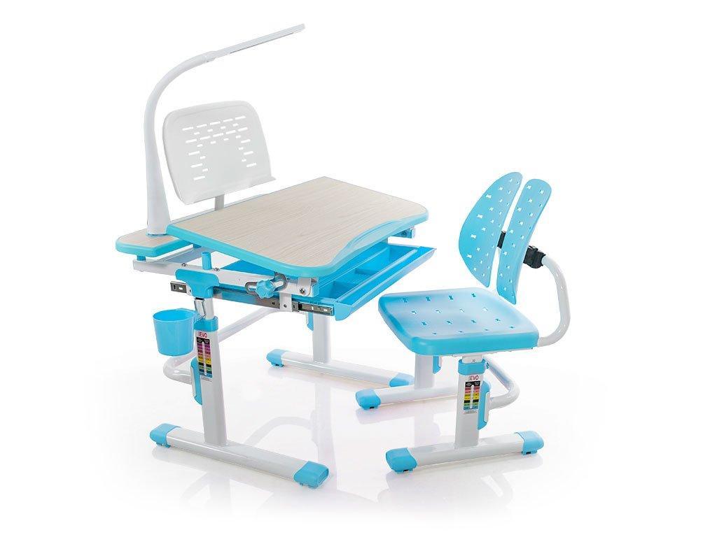 Комплект детская парта растишка стол трансформер + кресло растишка Evo-Kids Evo-05 Blue с лампой