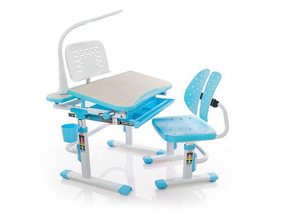 Комплект детская парта растишка стол трансформер + кресло растишка Evo-Kids Evo-05 Blue с лампой, фото 2