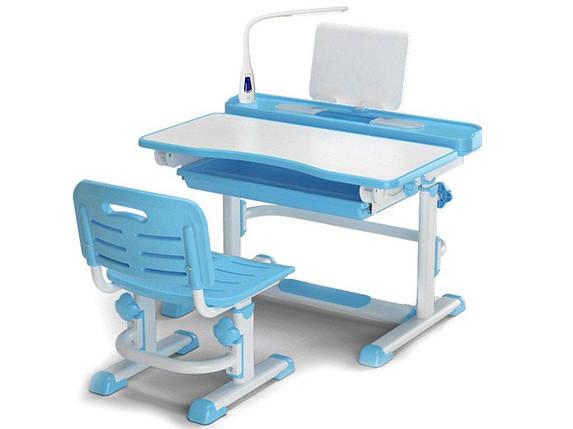 Комплект детская парта растишка стол трансформер + кресло растишка Evo-Kids BD-04 XL New Blue + Лампа, фото 2