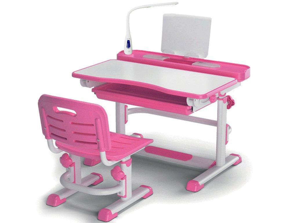Комплект детская парта растишка стол трансформер + кресло растишка Evo-Kids BD-04 XL New Pink + Лампа