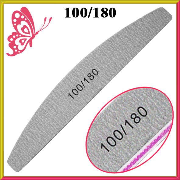 Пилка для Ногтей Лодка Серая 100/180 Двухсторонняя для Искусственных и Натуральных Ногтей