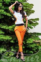 Женский летний костюм из футболки и укороченных брючек коттон стрейч