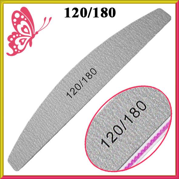 Пилка Лодка Серая 120/180 для Ногтей Двухсторонняя Профессиональная для Искусственных и Натуральных Ногтей