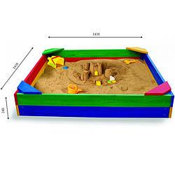 Детская песочница цветная с уголками 145х145х24