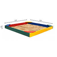Детская песочница цветная с уголками 145х145х12
