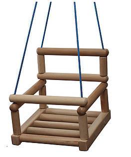 Качели детские деревянные подвесные со спинкой и ограничителем SportBaby