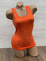 Майка женская стрейчевая в упаковке 3 шт оранжевого цвета, фото 1