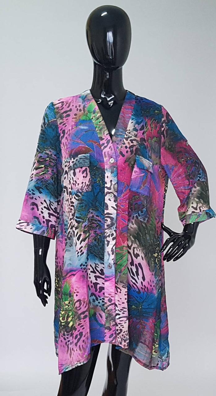 Легкая женская шифоновая туника рубашечного кроя