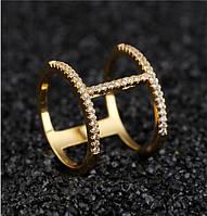 Красивое кольцо H-ring 7 с камнями (цирконий) и золотым покрытием, фото 1