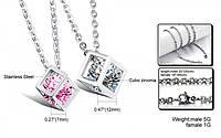"""Парные кулоны для влюбленных """"Алмазный куб"""" с кристаллами циркония, фото 1"""