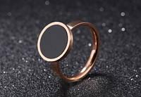 Кольцо розовое золото с фианитом размер 7 из хирургической стали, фото 1