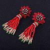 """Розкішні сережки-кисті """"Zara"""" з високоякісного бісеру ручної роботи. Застібка - гвоздик"""