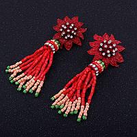 """Розкішні сережки-кисті """"Zara"""" з високоякісного бісеру ручної роботи. Застібка - гвоздик, фото 1"""