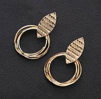 Класичні сережки пелюстки з цинкового сплаву. Колір - золото, срібло., фото 1