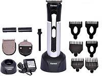 Машинка Kemei Km-3007 для стрижки бороди і вусів, 3 в 1, 2 акумулятора, фото 1